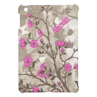 ヴィンテージのショッキングピンクによってはベージュ色、暗灰色の花柄が開花します iPad MINIケース