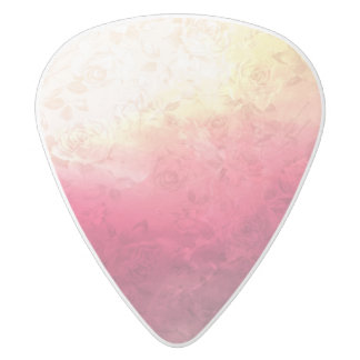 ヴィンテージのショッキングピンクのグランジな花の多彩なパターン ホワイトデルリン ギターピック