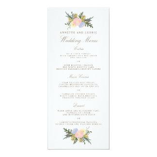 ヴィンテージのシルエットの春の花の結婚式メニュー カード