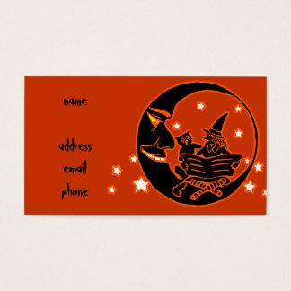 ヴィンテージのシルエットの魔法使いの猫および月 名刺