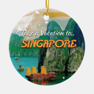 ヴィンテージのシンガポールの休暇ポスター セラミックオーナメント