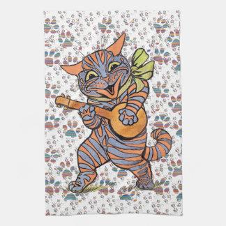 ヴィンテージのジャズ風のバンジョー音楽猫の台所タオル キッチンタオル
