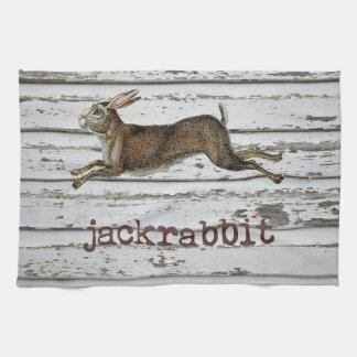 ヴィンテージのジャックのウサギのノウサギの絵の小屋の装飾 キッチンタオル