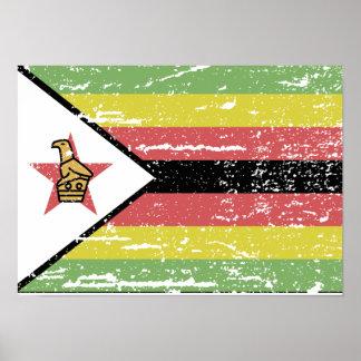ヴィンテージのジンバブエの旗 ポスター