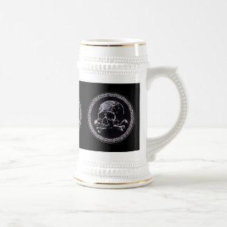 ヴィンテージのスカルの円形アイコン ビールジョッキ