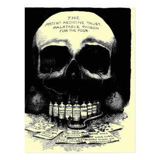 ヴィンテージのスカルの薬剤の広告の郵便はがき ポストカード