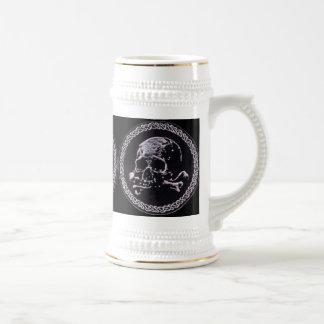 ヴィンテージのスカル円形アイコンパターン ビールジョッキ
