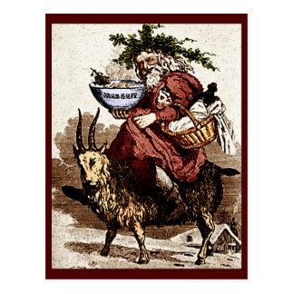 ヴィンテージのスカンジナビア人サンタ及びクリスマスのヤギ ポストカード