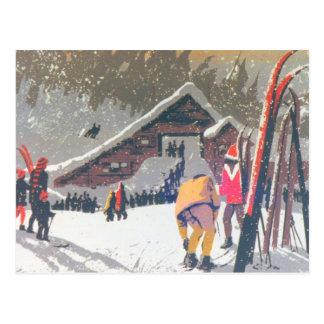 ヴィンテージのスキーイメージは競うために、用意します ポストカード
