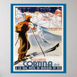 ヴィンテージのスキーポスター、イタリアのドロマイトのコルティナ ポスター