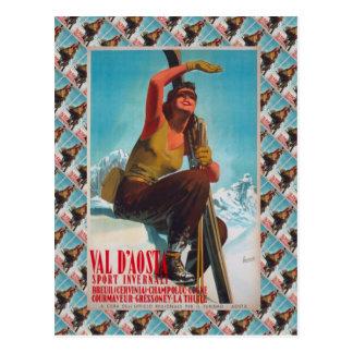 ヴィンテージのスキーポスター、イタリア、Val - dの' aosta ポストカード