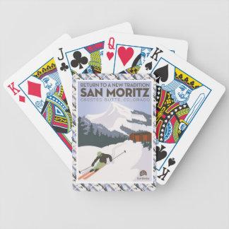 ヴィンテージのスキーポスター、サンMoritzの頂点に達されたビュート、 バイスクルトランプ