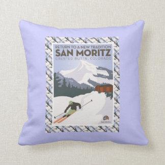 ヴィンテージのスキーポスター、サンMoritz クッション