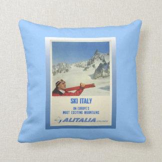 ヴィンテージのスキーポスター、スキーイタリア、アリタリア航空 クッション