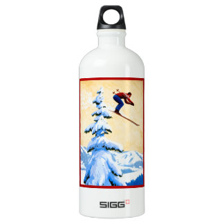 ヴィンテージのスキーポスター、スキージャンパーおよび松の木 SIGG トラベラー 1.0L ウォーターボトル