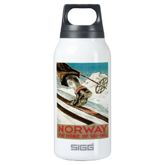 ヴィンテージのスキーポスター、ノルウェーのスキーの家 断熱ウォーターボトル