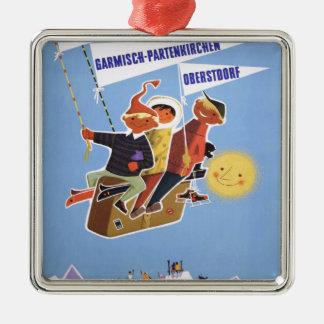 ヴィンテージのスキーポスター、ババリア シルバーカラー正方形オーナメント
