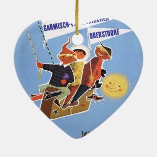 ヴィンテージのスキーポスター、ババリア 陶器製ハート型オーナメント