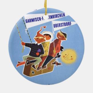 ヴィンテージのスキーポスター、ババリア 陶器製丸型オーナメント