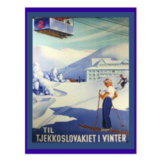 ヴィンテージのスキーポスター、冬のCzeuchoslavakia ポストカード