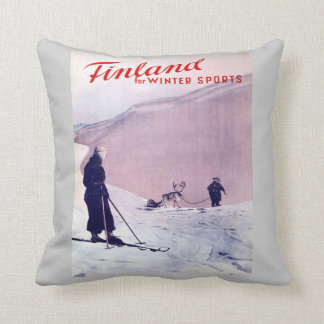 ヴィンテージのスキーポスター、冬季スポーツのためのフィンランド クッション