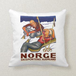 ヴィンテージのスキーポスター、Norge、Skisportens Hjemland クッション