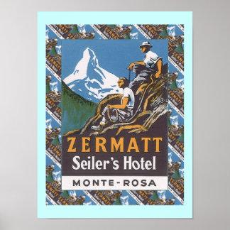 ヴィンテージのスキーポスター、ZermattのSeilerのホテル ポスター