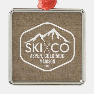 ヴィンテージのスキー山の《植物》アスペンのコロラド州のバーラップの習慣 メタルオーナメント