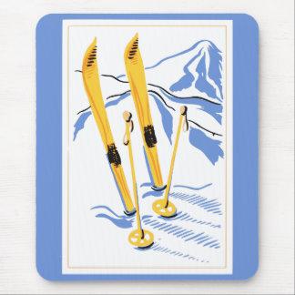 ヴィンテージのスキー芸術 マウスパッド