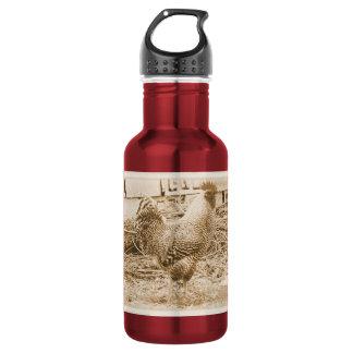 ヴィンテージのスタイルのオンドリの写真 ウォーターボトル
