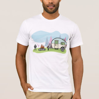 ヴィンテージのスタイルのキャンピングカーメンズTシャツ Tシャツ