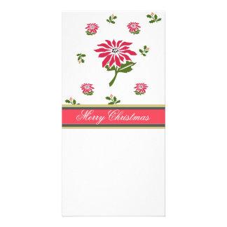 ヴィンテージのスタイルのクリスマスのポインセチアおよびヒイラギ カード
