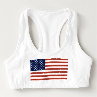 ヴィンテージのスタイルのグランジなパンクの米国旗はブラを遊ばします スポーツブラ