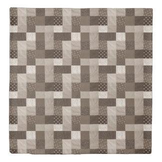 ヴィンテージのスタイルのパッチワークの生地のデザインのセピア色色 掛け布団カバー