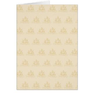 ヴィンテージのスタイルの帆船パターン、ベージュ色 カード