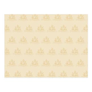ヴィンテージのスタイルの帆船パターン、ベージュ色 ポストカード