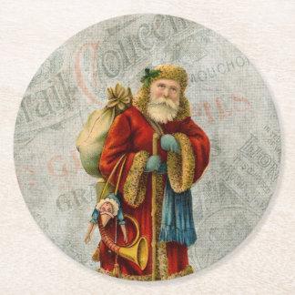 ヴィンテージのスタイルの父のクリスマスサンタクロース ラウンドペーパーコースター