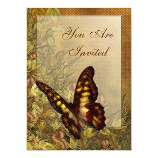 ヴィンテージのスタイルの蝶イラストレーションの招待状 カード