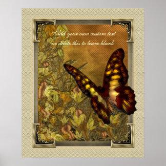 ヴィンテージのスタイルの蝶イラストレーションポスター ポスター