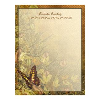 ヴィンテージのスタイルの蝶イラストレーション レターヘッド