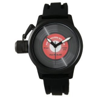ヴィンテージのスタイルの赤45 rpmのレコードの腕時計 腕時計