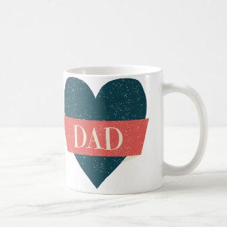 ヴィンテージのスタイルの青いハートのパパのマグ コーヒーマグカップ