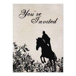 ヴィンテージのスタイルの馬の跳躍の誕生日の招待状 カード