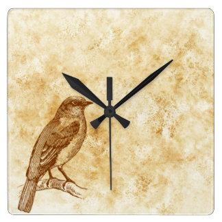 ヴィンテージのスタイルの鳥のデザインの柱時計 スクエア壁時計