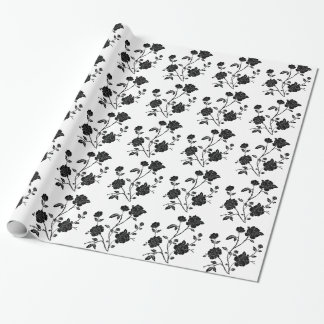 ヴィンテージのスタイルの黒の花 ラッピングペーパー
