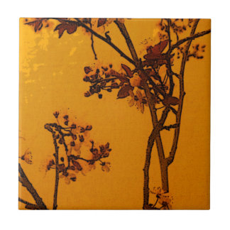 ヴィンテージのスタイルバーガンディおよび金ゴールドの花柄 タイル