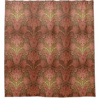 ヴィンテージのスタイルブラウンおよびあずき色の花パターン シャワーカーテン