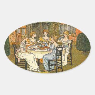 ヴィンテージのステッカーの午後の庭のお茶会のステッカー 楕円形シール