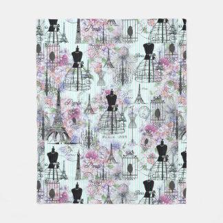 ヴィンテージのストライプなエッフェル塔のコラージュのピンクの花柄 フリースブランケット