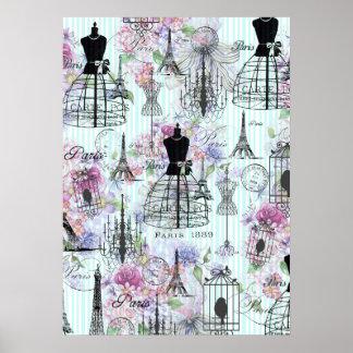ヴィンテージのストライプなエッフェル塔のコラージュのピンクの花柄 ポスター